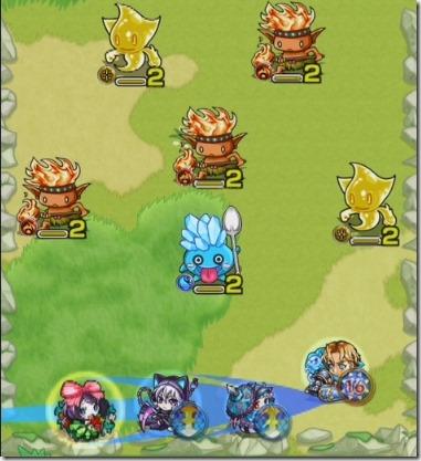 戦闘の初戦は味方を狙って友情コンボを発動する