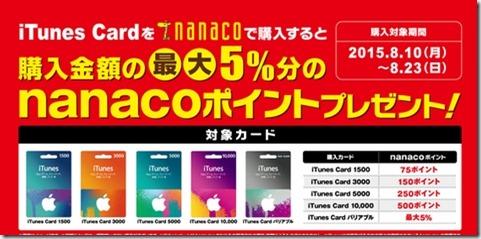セブンイレブンのnanacoでiTunesカード購入で5%ポイント還元